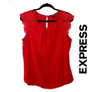 Express Red Blouse w. Floral Embroidered Shoulders